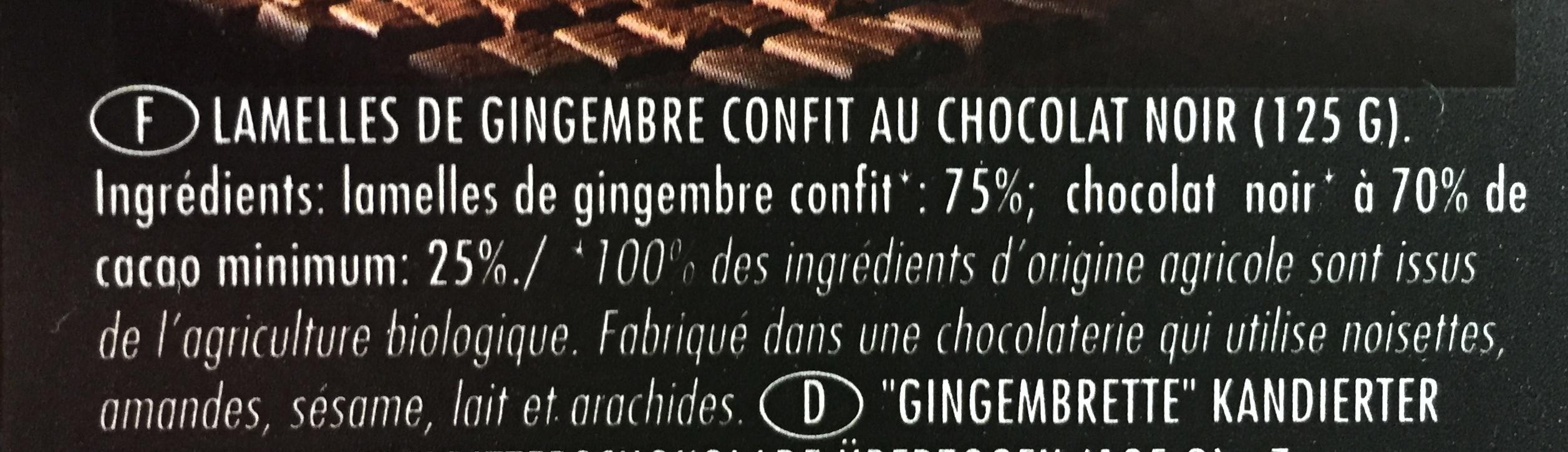 Gingembrettes confites chocolat noir - Ingredients
