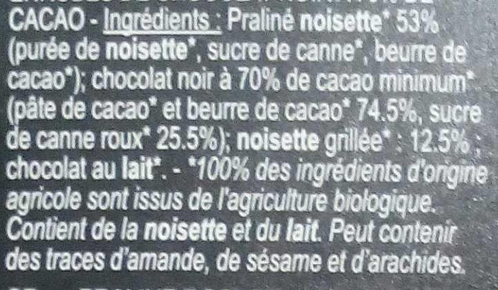 Noisette - Bouchées de Chocolat Noir - Ingrédients - fr