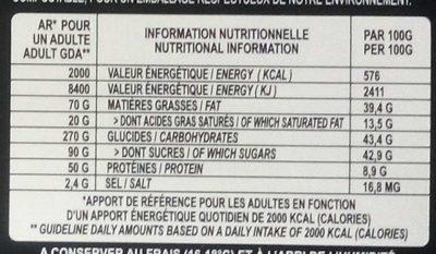 Noisette - Bouchées de Chocolat Noir - Informations nutritionnelles - fr