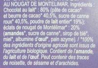 Nougat - Barre de Chocolat au Lait - Ingrédients - fr