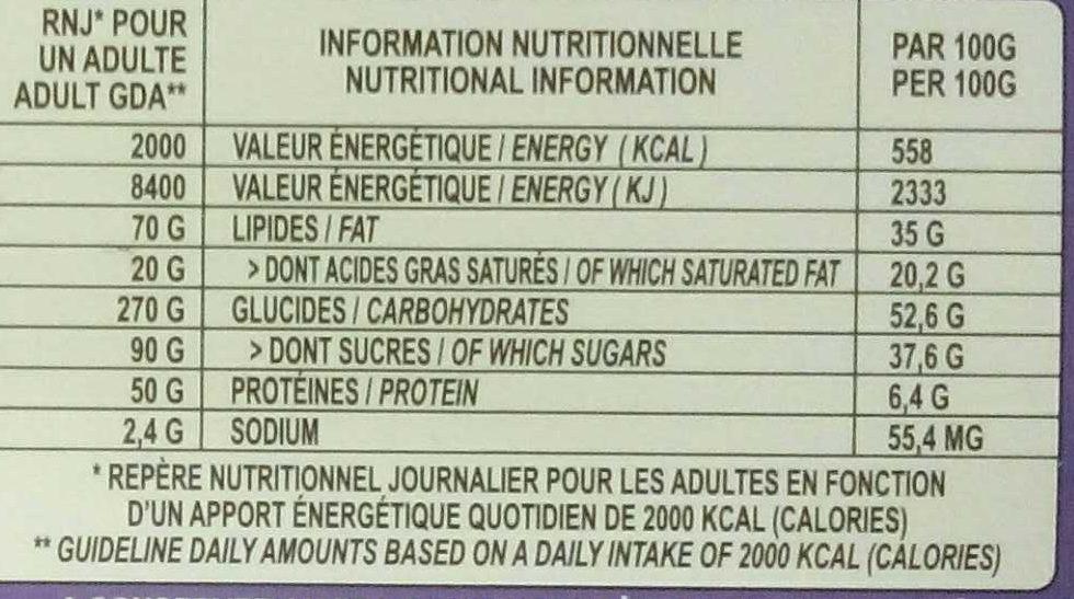 Nougat - Barre de Chocolat au Lait - Informations nutritionnelles - fr