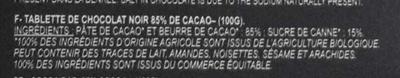 Chocolats Fins 85% Noir - Ingrédients - fr