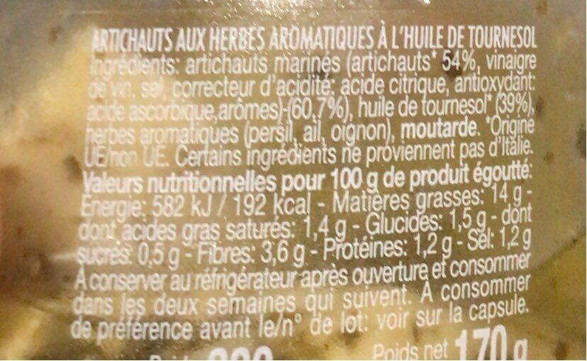 Coeurs d'artichauts à la paysanne - Informations nutritionnelles - fr