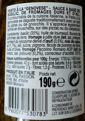 Le Pesto alla genovese Flarelli - Nutrition facts - fr