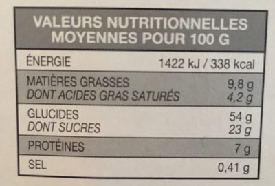 Panettone avec Beurre - Voedingswaarden