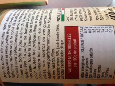 Pulpe de tomate fraiche - Ingredients - fr