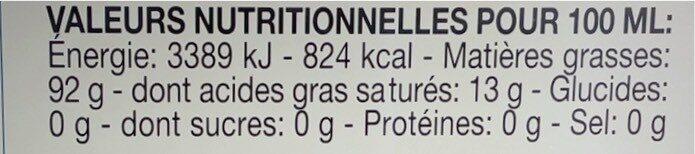 Belfiori Huile D'olive Vierge Extra - Valori nutrizionali - fr