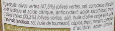 Les Tartinables Tapenade d'Olives Vertes - Ingredients