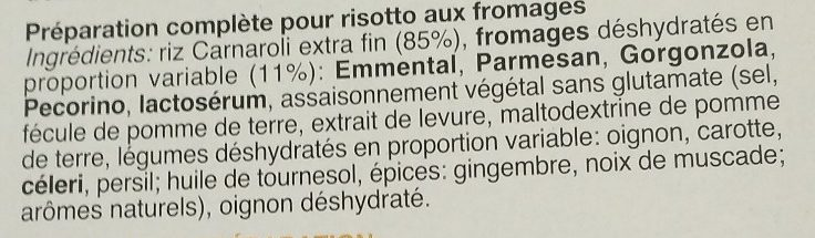 Risotto 4 Fromages - Ingredients