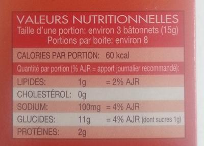 Grissini Romarin - Bâtonnets de pain croquants à l'Italienne - Informations nutritionnelles - fr