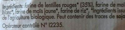 Pates aux lentilles rouges - Ingrediënten - fr