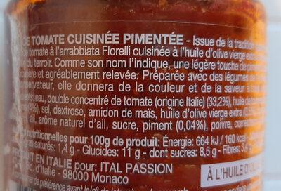 Sauce tomate à l'Arrabiata - Ingrédients - fr