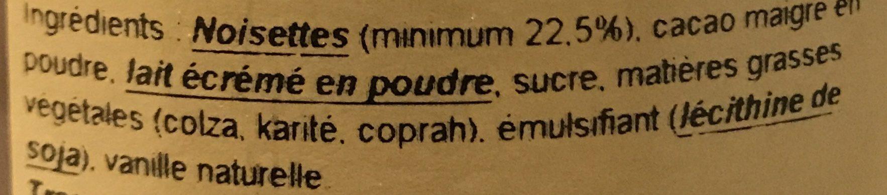Pâte à Tartiner Noisette - Ingrédients - fr
