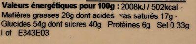 Croustines noires - Nutrition facts