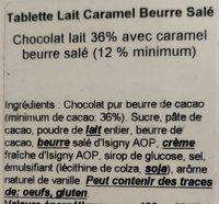 Tablette lait caramel beurre salé - Ingredients