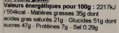 Tablette lait caramel beurre salé - Nutrition facts