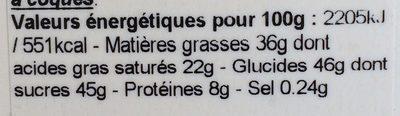 Comptoir du cacao- framboise - Informations nutritionnelles