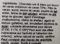 Tablette de chocolat Noir coeurs - Ingrédients