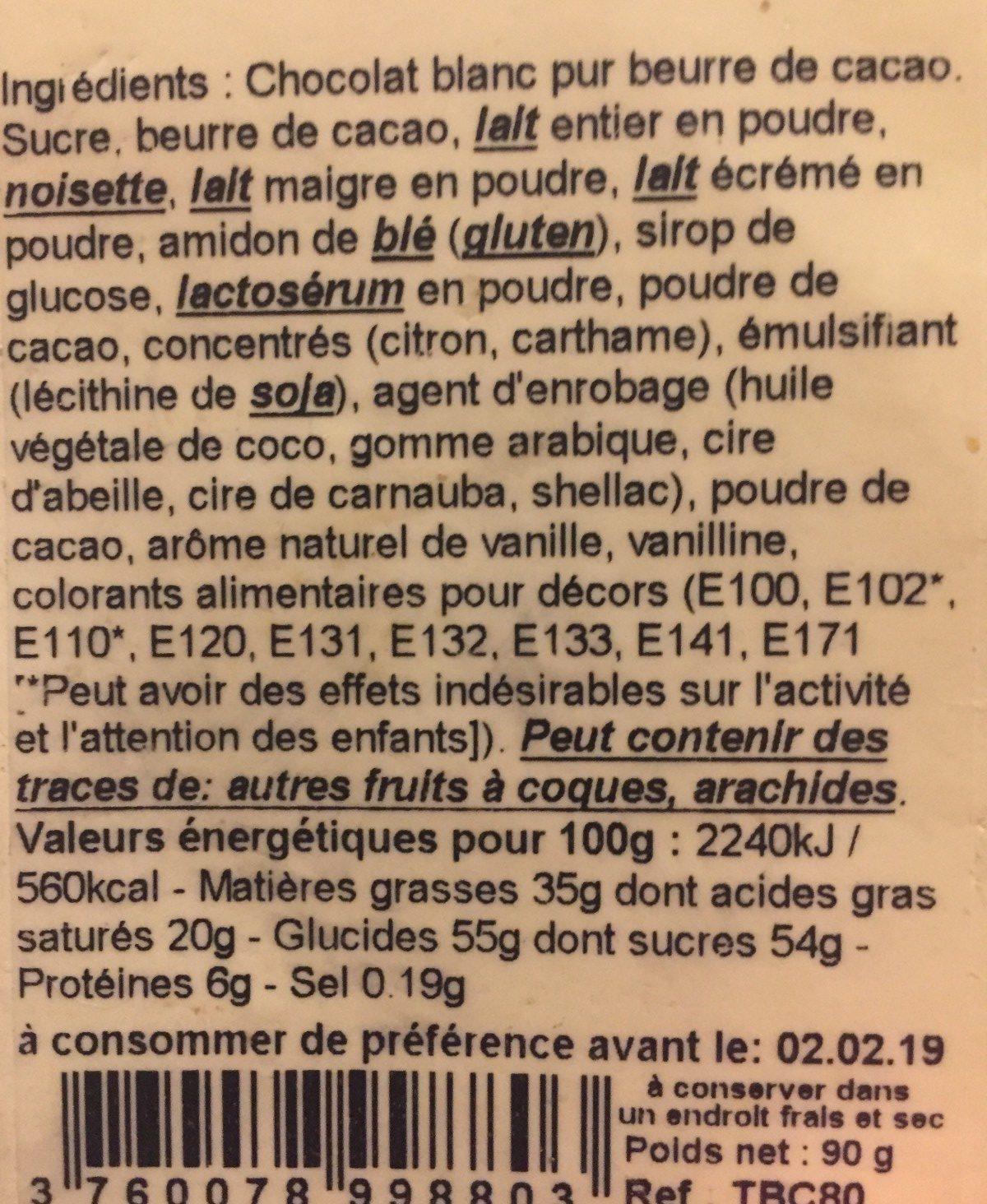 Plaquette de chocolat - Ingrediënten - fr