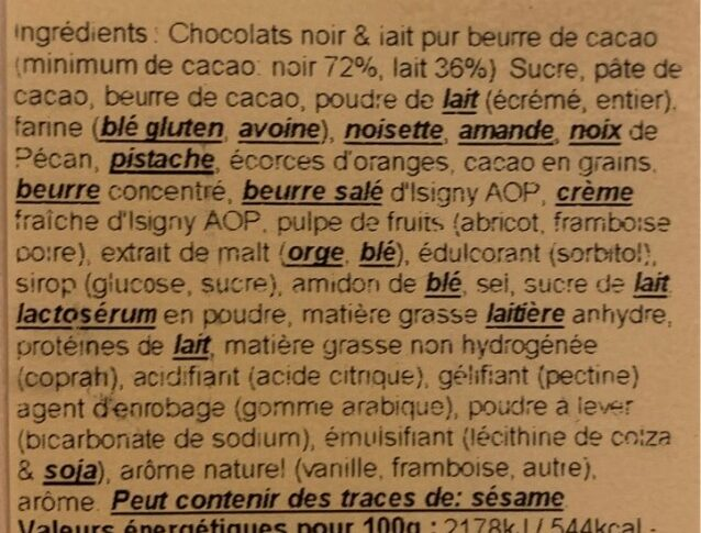 Assortiments chcocolats - Ingredients