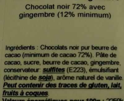 Tablette Noire gingembre - Ingredients