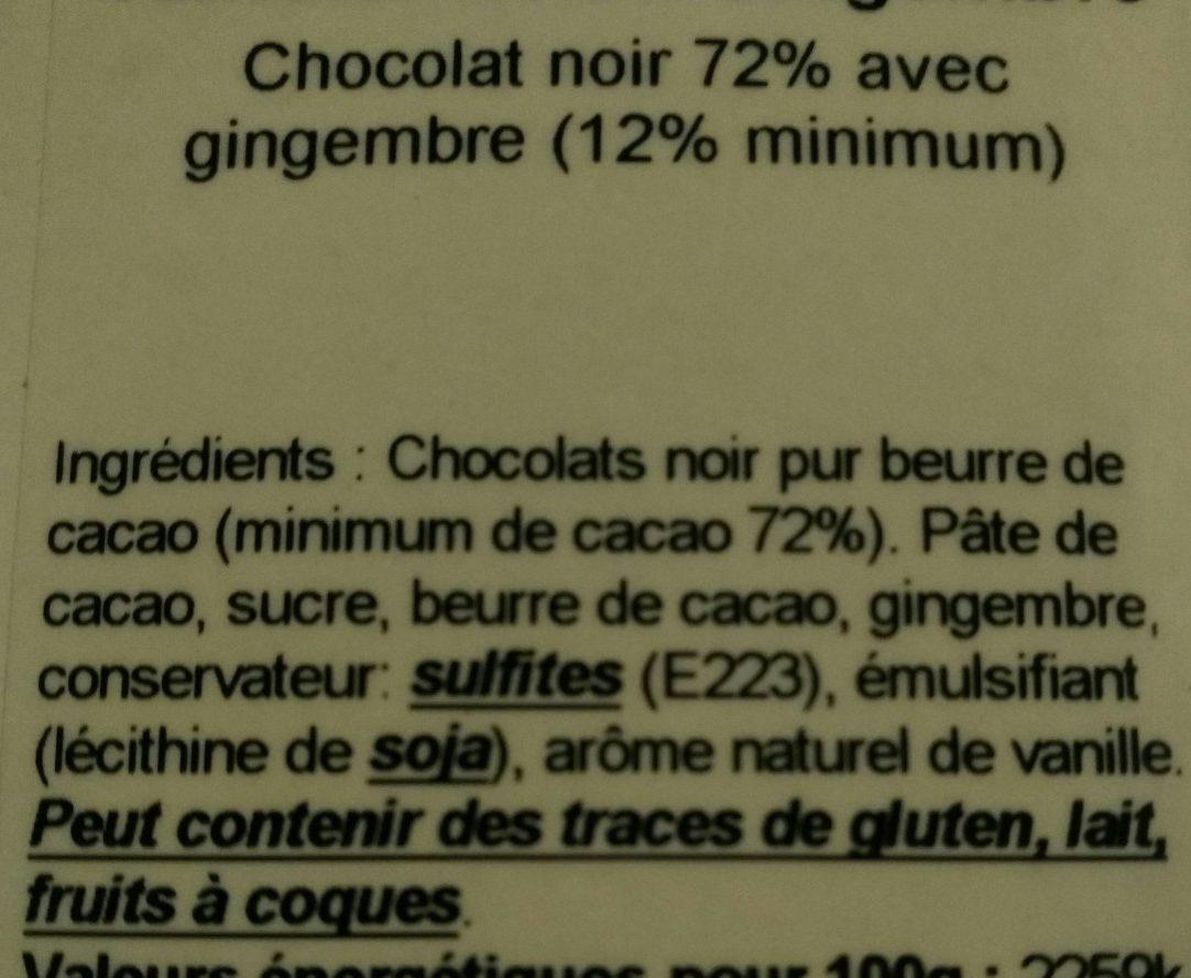 Tablette Noire gingembre - Ingrédients - fr