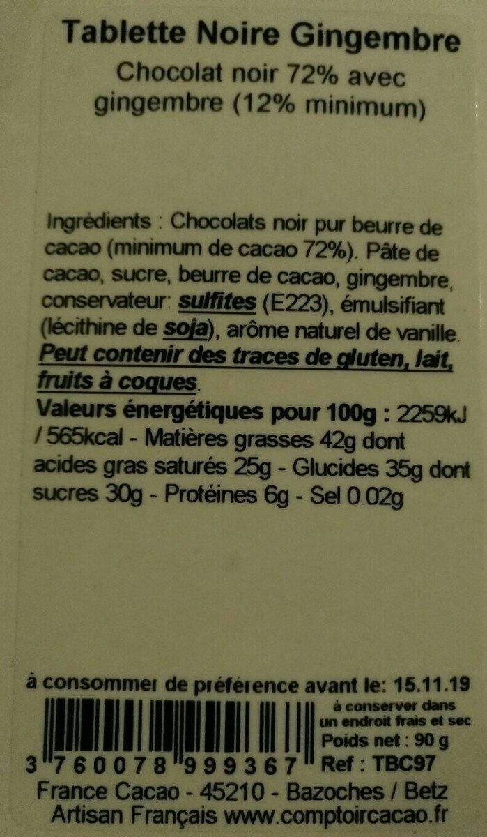 Tablette Noire gingembre - Informations nutritionnelles - fr