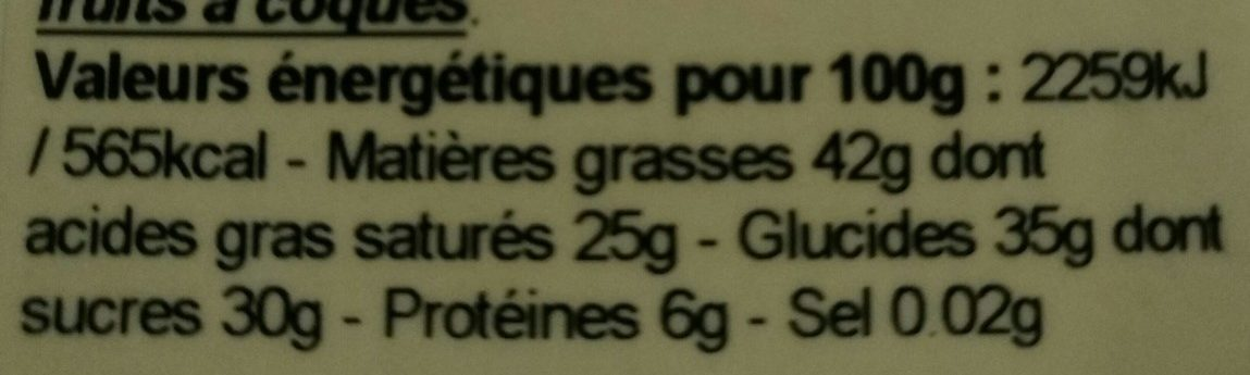 Tablette Noire gingembre - Nutrition facts - fr