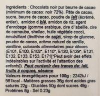 Tablette Noir poissons - Ingrédients