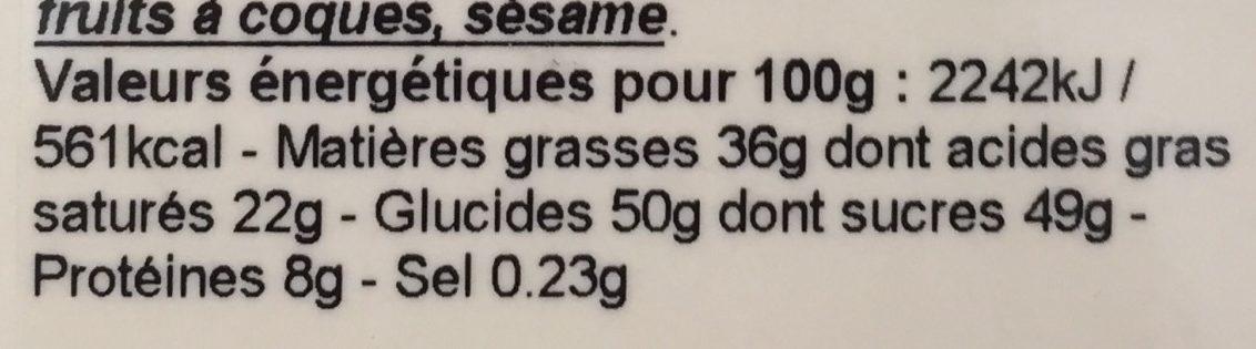 Tablette Noir poissons - Informations nutritionnelles