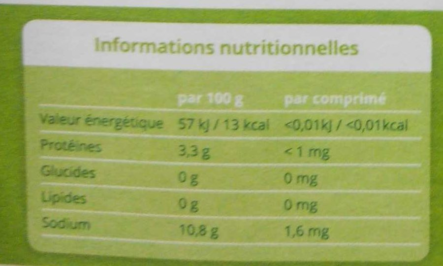 Stevia mini - Informations nutritionnelles