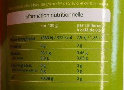 STEVIA EDULCORANT POUDRE - Nutrition facts