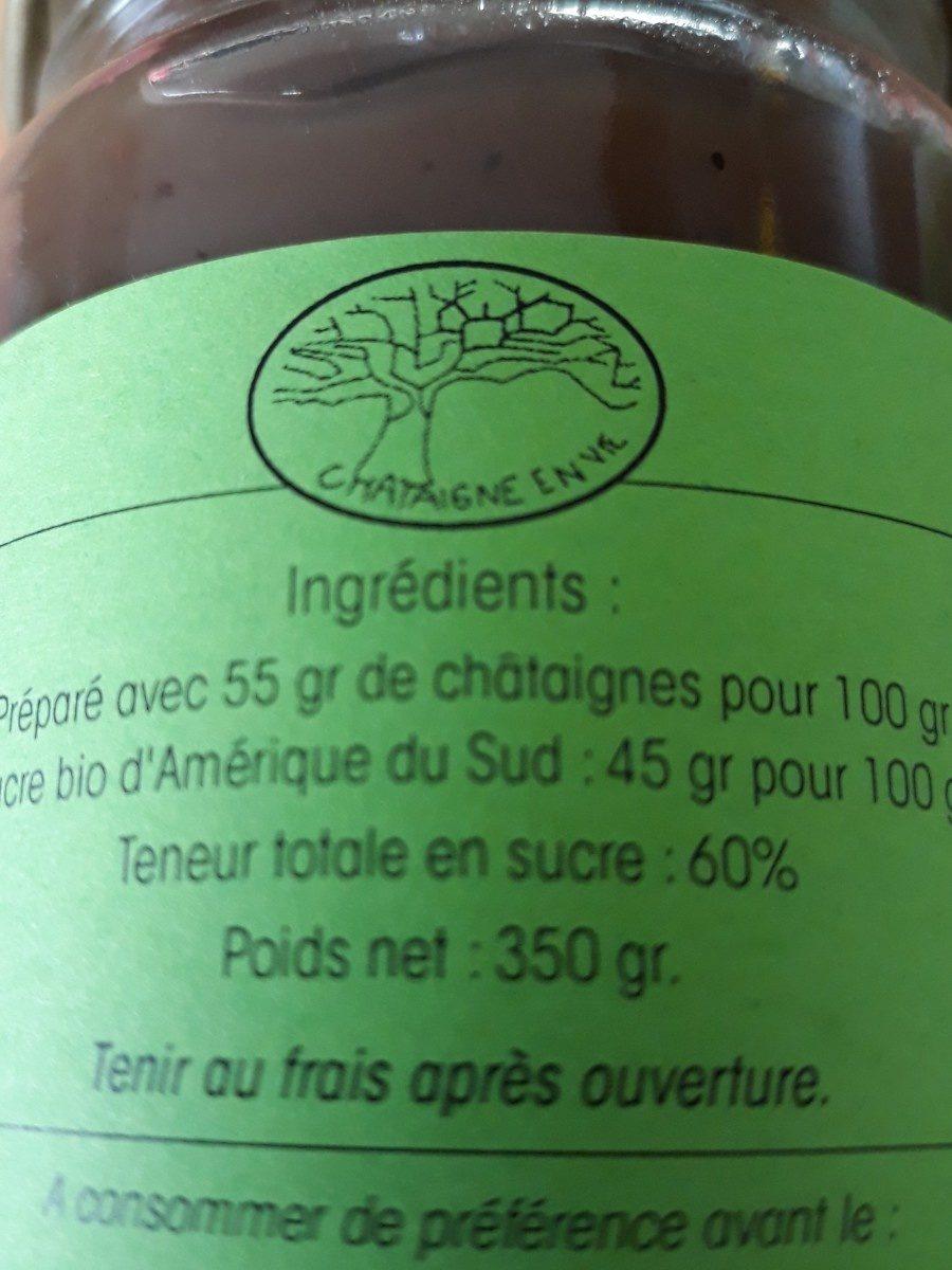 Crème de chataignes bio - Ingrédients - fr