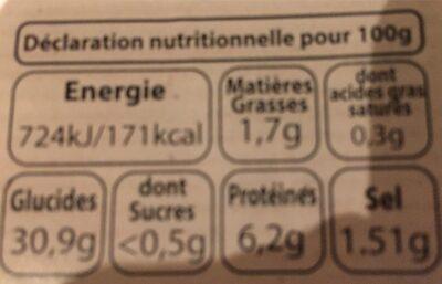 Galettes fraiches - Informations nutritionnelles - fr