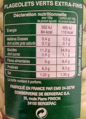 Flageolet - Informations nutritionnelles - fr