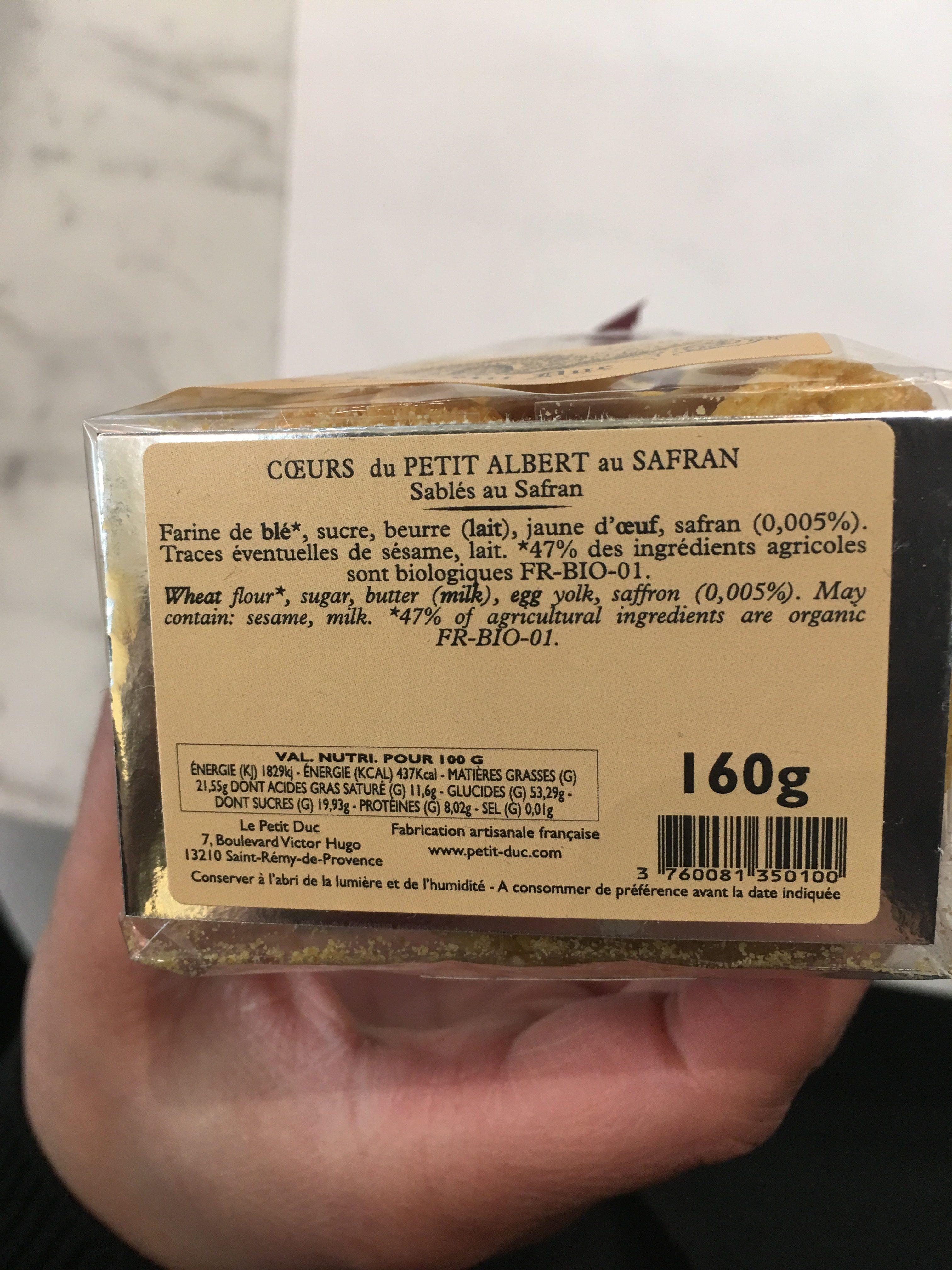 Coeur du PETIT ALBERT au safran - Ingrédients