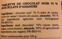Chicolat noir 70% éclats amandes - Ingredients