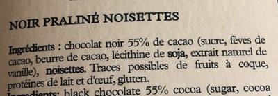 Chocolat noir praliné noisettes - Ingredients