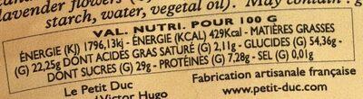 Calissons à la lavande - Informations nutritionnelles - fr