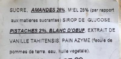 Nougat tendre de Montélimar - Ingrédients