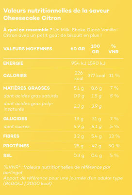 So Shape Cheese Cake Lemon - Nutrition facts - fr