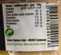 Foie gras mi-cuit - Nutrition facts - fr