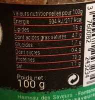 Terrine de Canard à l'Ail des Ours - Informations nutritionnelles - fr