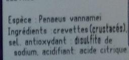 Crevettes cuites réfrigérées - Ingredients - fr