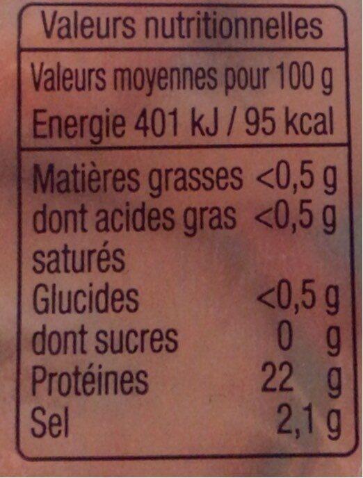 Crevettes cuites réfrigérées - Nutrition facts - fr