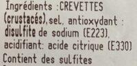 Crevettes entieres cuites refrigerées asc 50/60 pieces par kg - Ingredients - fr