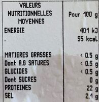 Crevettes entieres cuites refrigerees ASC - Nutrition facts - fr