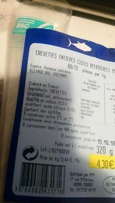 Crevettes entières cuites réfrigérées ASC - Ingredients - fr