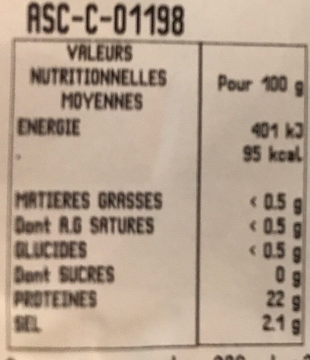 CREVETTES ENTIERES CUITES REFRIGEREES - Nutrition facts - fr
