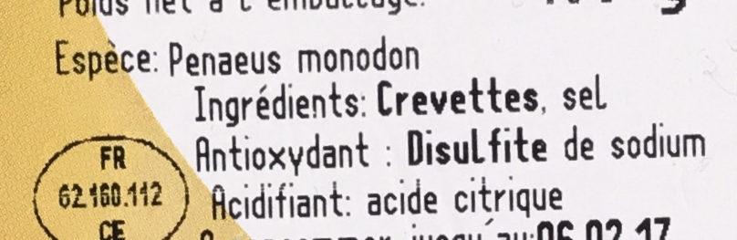 Crevette tigrée Premium - Ingredients - fr